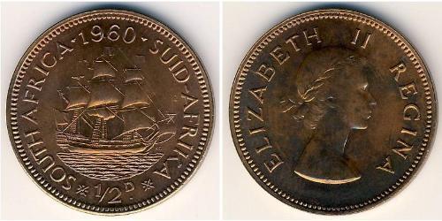 1/2 Penny Afrique du Sud Bronze Elizabeth II (1926-)