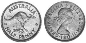 1/2 Penny Australia (1939 - ) Bronze Elizabeth II (1926-)