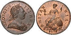 1/2 Penny Königreich Großbritannien (1707-1801) Bronze Georg III (1738-1820)