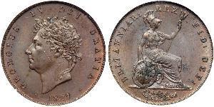 1/2 Penny Vereinigtes Königreich von Großbritannien und Irland (1801-1922) Bronze Georg IV (1762-1830)