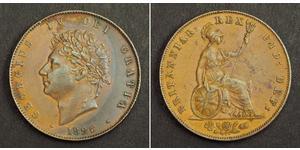 1/2 Penny Regno Unito di Gran Bretagna e Irlanda (1801-1922) Bronzo Giorgio IV (1762-1830)