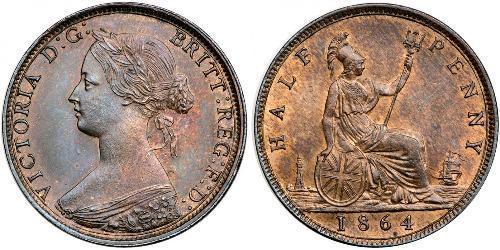 1/2 Penny Reino Unido Cobre Victoria (1819 - 1901)