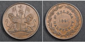 1/2 Penny Santa Helena (1981 - ) Cobre
