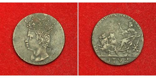 1/2 Penny Barbados Copper