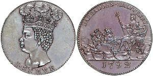 1/2 Penny Barbade Cuivre