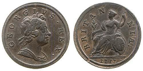 1/2 Penny Königreich Großbritannien (1707-1801) Kupfer Georg I (1660-1727)