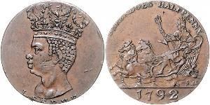 1/2 Penny Barbados Rame