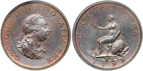 1/2 Penny 大不列颠及爱尔兰联合王国 (1801 - 1922)  喬治三世 (1738-1820)