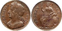 1/2 Penny Kingdom of England (927-1649,1660-1707)  Charles II (1630-1685)