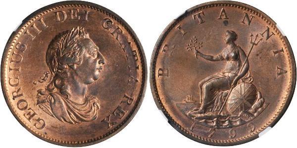 1/2 Penny Reino Unido de Gran Bretaña e Irlanda (1801-1922)  Jorge III (1738-1820)