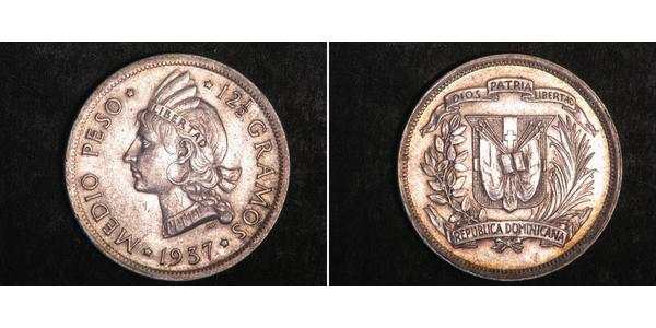 1/2 Peso Repubblica Dominicana Argento