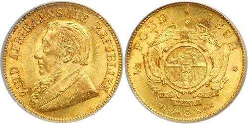 1/2 Pond South Africa Gold Paul Kruger (1825 - 1904)