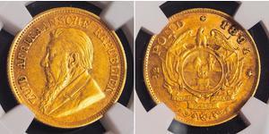 1/2 Pond / 1/2 Соверен Южно-Африканская Республика Золото Крюгер, Пауль (1825 - 1904)