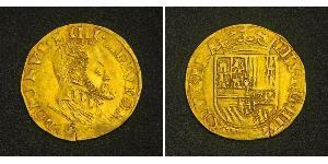 1/2 Real 西班牙哈布斯堡王朝 (1516 - 1700) 金 腓力二世 (西班牙) (1527 - 1598)