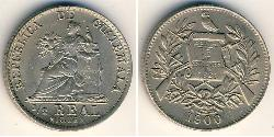1/2 Real Republic of Guatemala (1838 - ) Copper/Nickel