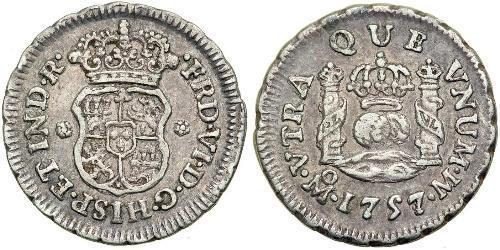 1/2 Real Virreinato de Nueva España (1519 - 1821) Plata Fernando VII de España (1784-1833)