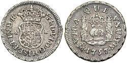 1/2 Real Vizekönigreich Neuspanien (1519 - 1821) Silber Ferdinand VII. von Spanien (1784-1833)