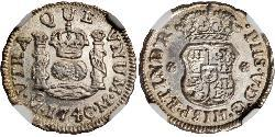 1/2 Real Spanish Mexico  / Kingdom of New Spain (1519 - 1821) Silver Philip V of Spain(1683-1746)