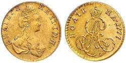 1/2 Rubel / 1 Poltina Russisches Reich (1720-1917) Gold Katharina II (1729-1796)