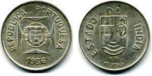 1/2 Rupee Inde portugaise (1510-1961) Argent