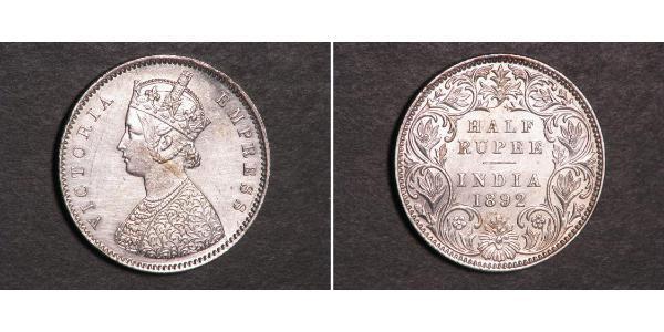 1/2 Rupee Raj britannique (1858-1947) Argent Victoria (1819 - 1901)