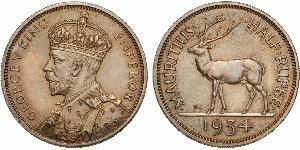 1/2 Rupee Mauritius Argento Giorgio V (1865-1936)