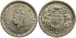 1/2 Rupee Raj Britannico (1858-1947) Biglione Argento Giorgio VI (1895-1952)