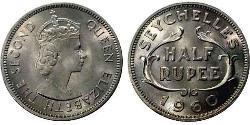 1/2 Rupee Seychelles Copper/Nickel Elizabeth II (1926-)
