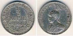 1/2 Rupee África Oriental Alemana (1885-1919) Plata