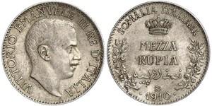 1/2 Rupee Kingdom of Italy (1861-1946) Plata Víctor Manuel III de Italia (1869 - 1947)