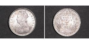 1/2 Rupee Raj Británico (1858-1947) Plata Victoria (1819 - 1901)