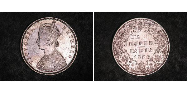1/2 Rupee Britisch-Indien (1858-1947) Silber Victoria (1819 - 1901)