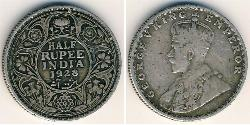 1/2 Rupee British Raj (1858-1947) Silver George V of the United Kingdom (1865-1936)