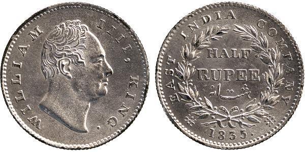 1/2 Rupee British Raj (1858-1947) Silver William IV (1765-1837)