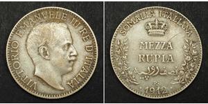 1/2 Rupee Kingdom of Italy (1861-1946) Silver Victor Emmanuel III of Italy (1869 - 1947)