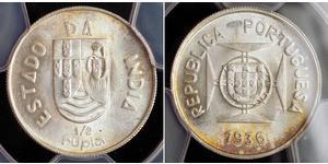 1/2 Rupee Portuguese India (1510-1961) Silver