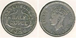 1/2 Rupee Seychelles Silver George VI (1895-1952)