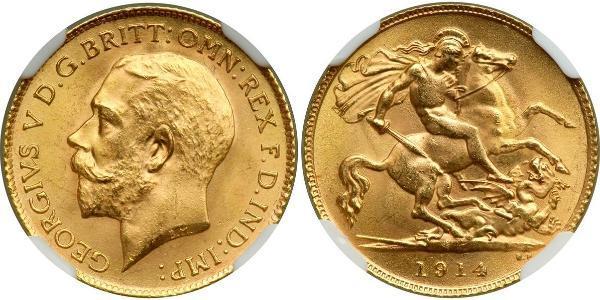 1/2 Sovereign 大不列颠及爱尔兰联合王国 (1801 - 1922) 金 乔治五世  (1865-1936)