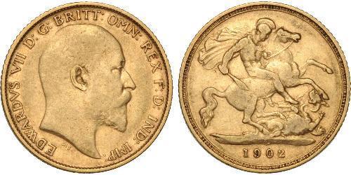 1/2 Sovereign Regno Unito di Gran Bretagna e Irlanda (1801-1922) Oro Edoardo VII (1841-1910)