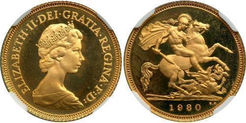 1/2 Sovereign Reino Unido (1922-) Oro Isabel II (1926-)