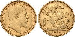 1/2 Sovereign Reino Unido de Gran Bretaña e Irlanda (1801-1922) Oro Eduardo VII (1841-1910)