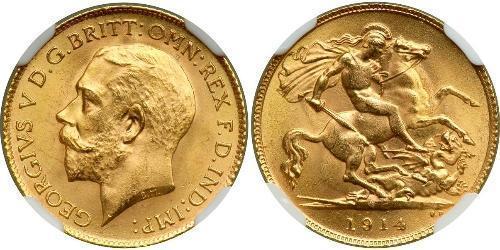 1/2 Sovereign Reino Unido de Gran Bretaña e Irlanda (1801-1922) Oro Jorge V (1865-1936)