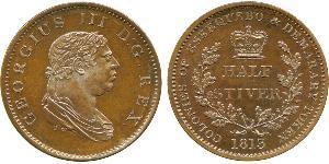 1/2 Stiver 大不列颠及爱尔兰联合王国 (1801 - 1922) 銅 喬治三世 (1738-1820)