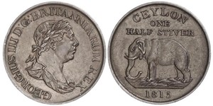 1/2 Stiver Sri Lanka/Ceylon / 大不列颠及爱尔兰联合王国 (1801 - 1922) 銅 喬治三世 (1738-1820)