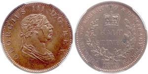 1/2 Stiver Vereinigtes Königreich von Großbritannien und Irland (1801-1922) Kupfer Georg III (1738-1820)