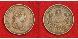 1/2 Stiver Regno Unito di Gran Bretagna e Irlanda (1801-1922) Rame Giorgio III (1738-1820)