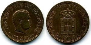 1/2 Tanga 葡屬印度 (1505 - 1961) 銅 卡洛斯一世 (葡萄牙)