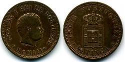 1/2 Tanga India portuguesa (1510-1961) Bronce Carlos I de Portugal (1863-1908)