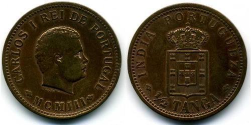 1/2 Tanga Portugiesisch-Indien (1510-1961) Bronze  Karl I. von Portugal (1863-1908)