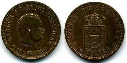 1/2 Tanga Portuguese India (1510-1961) Copper Carlos I of Portugal (1863-1908)